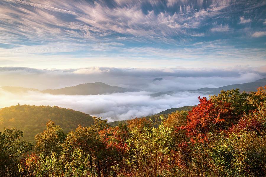 North Carolina Autumn Sunrise Blue Ridge Parkway Fall Foliage Nc Mountains
