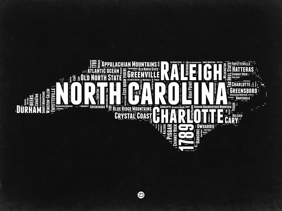 North Carolina Digital Art - North Carolina Black And White Word Cloud Map by Naxart Studio