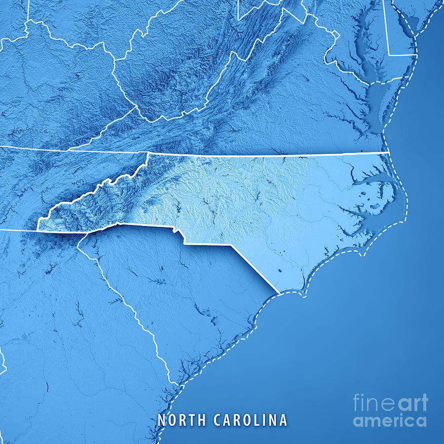 North Carolina State Usa 3d Render Topographic Map Blue Border
