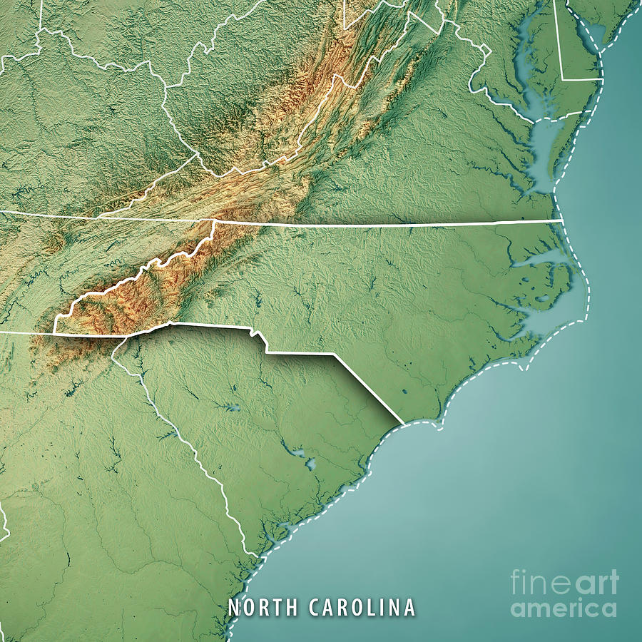North Carolina State Usa 3d Render Topographic Map Border Digital
