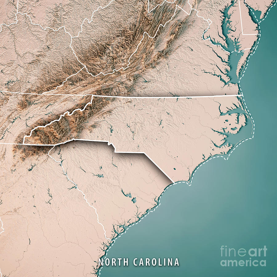 North Carolina State Usa 3d Render Topographic Map Neutral Borde