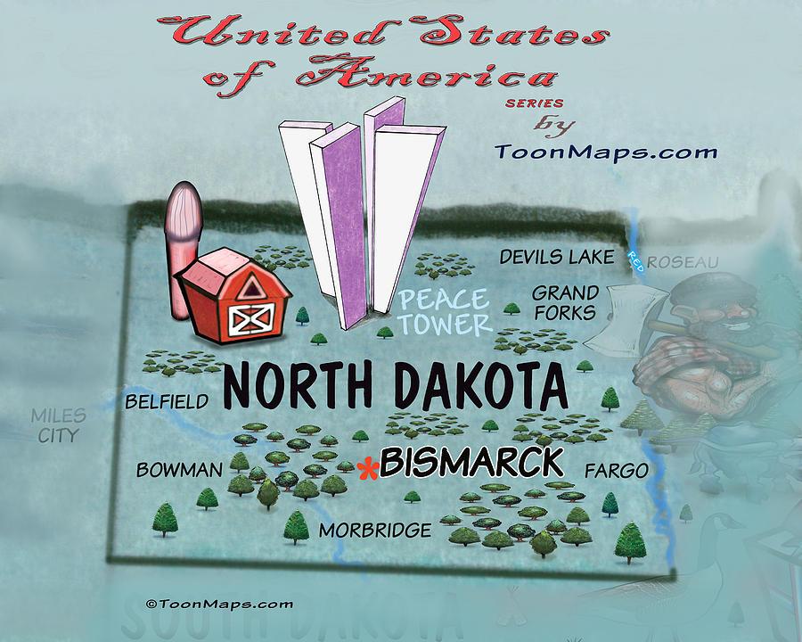 North Dakota Fun Map Digital Art