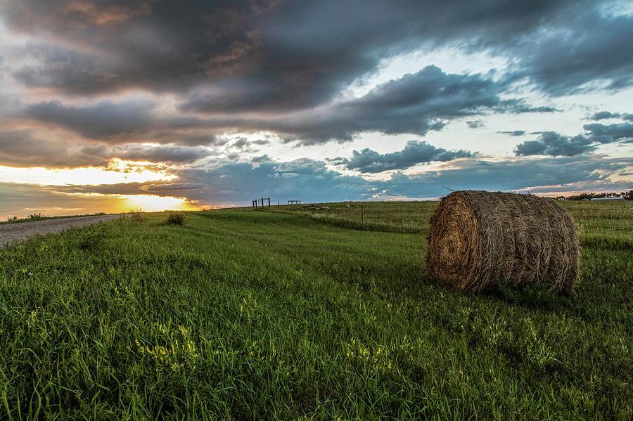 North Dakota Photograph - North Dakota Sunset With Hay by John McGraw
