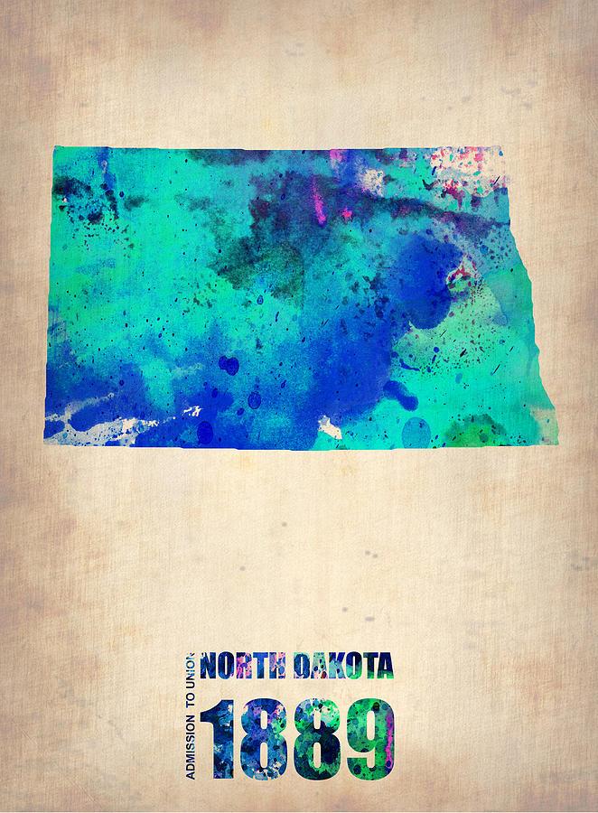 North Dakota Painting - North Dakota Watercolor Map by Naxart Studio