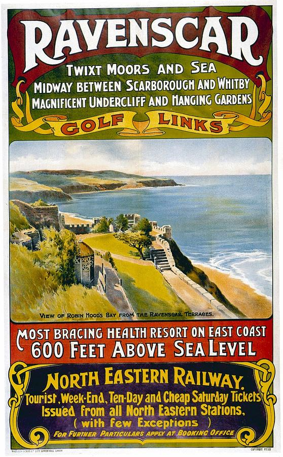 North Eastern Railway - Robin Hoods Bay From The Revenscar Terraces - Retro Travel Poster Mixed Media