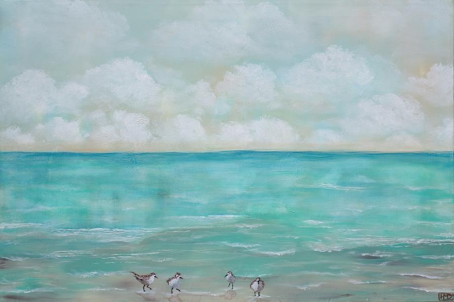 Sand Pipers Painting - North Florida Sand Pipers by Holly Donohoe
