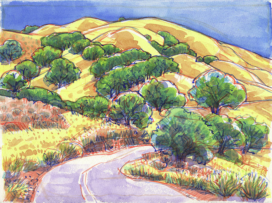 Landscape Painting - North Gate Road, Mount Diablo by Judith Kunzle