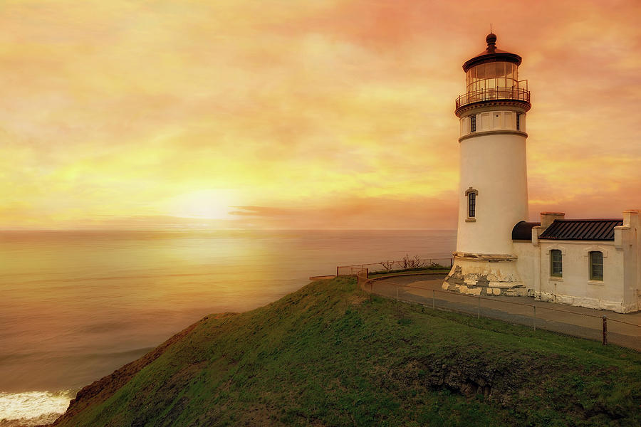 North Head Photograph - North Head Lighthouse At Sunset by David Gn