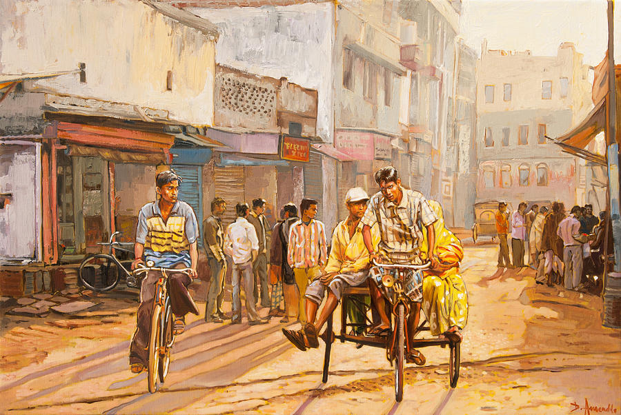 North India Painting - North India Street Scene by Dominique Amendola