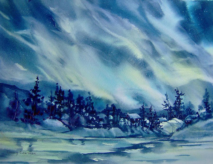 Aurora Borealis Painting - North-of-aurora by Nancy Newman