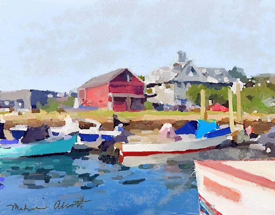 Fishing Boats Painting - North Shore Art Association At Pirates Lane On Reeds Wharf From Beacon Marine Basin by Melissa Abbott