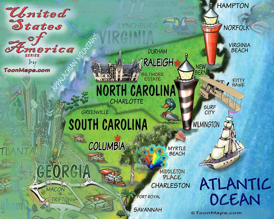 North South Carolina Fun Map Digital Art