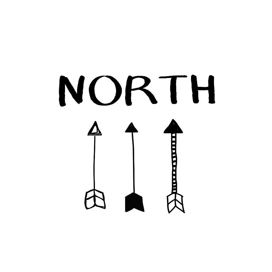 North Digital Art - North With Arrows- Art By Linda Woods by Linda Woods