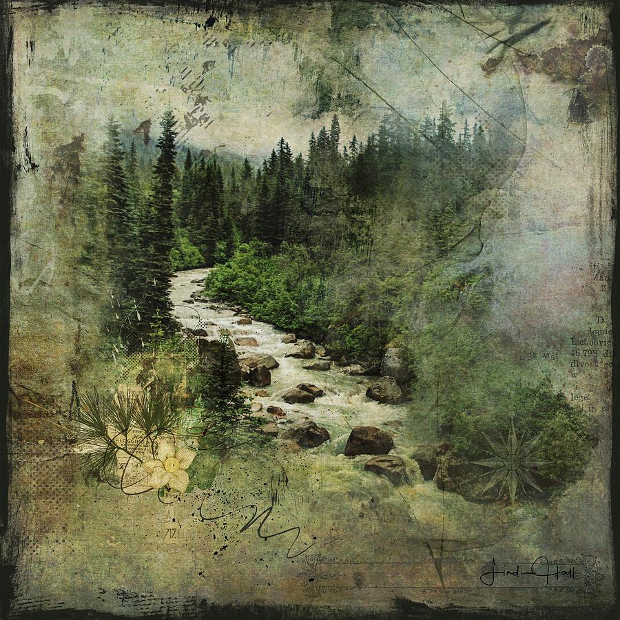 Mountains Digital Art - North Woods by Linda Lee Hall