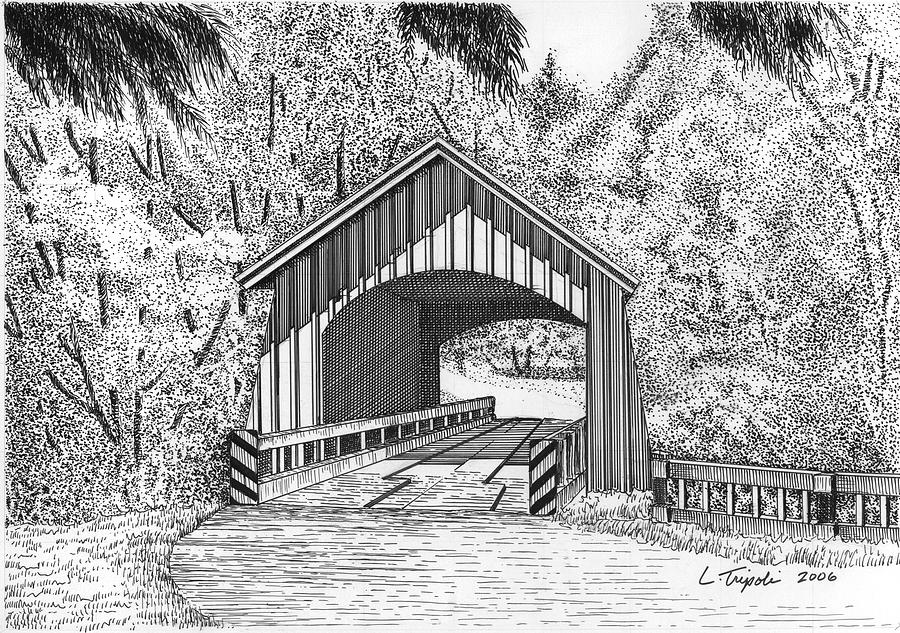 North Yachats Covered Bridge Drawing By Lawrence Tripoli