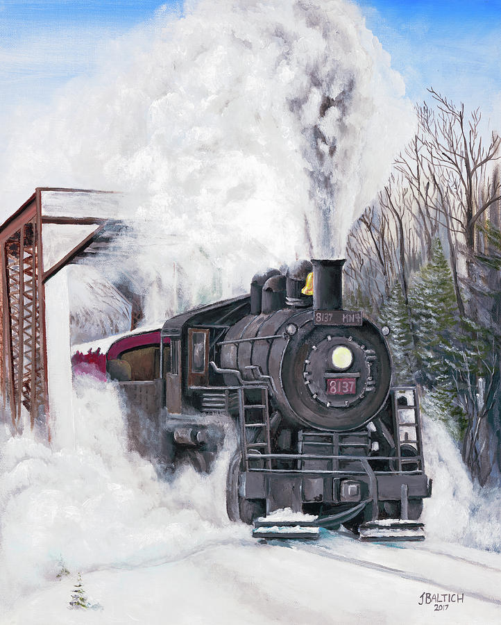 Train Painting - Northbound At 35 Below by Joe Baltich
