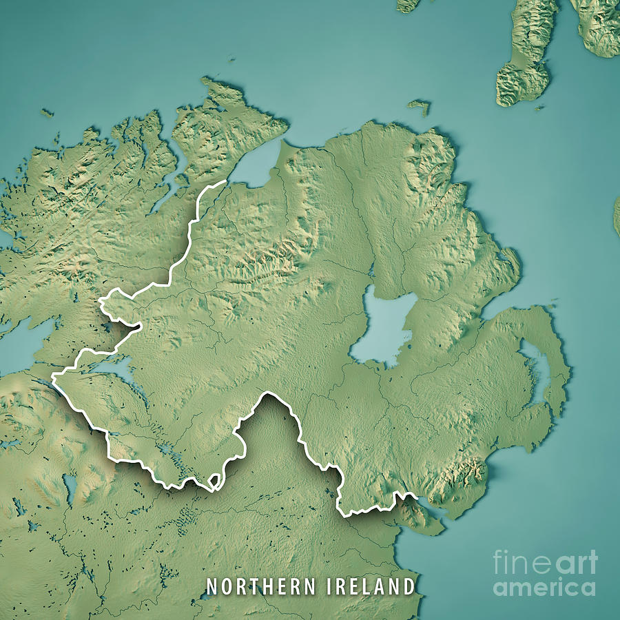 Country Of Ireland Map.Northern Ireland Country 3d Render Topographic Map Border By Frank Ramspott