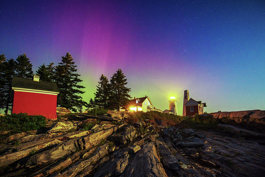 2017 Photograph - Northern Lights At Pemaquid Light by Robert Clifford