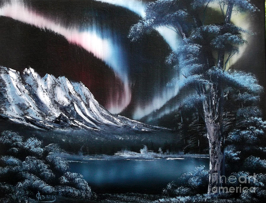 Aurora Painting - Northern Lights Aurora Borealis by Cynthia Adams