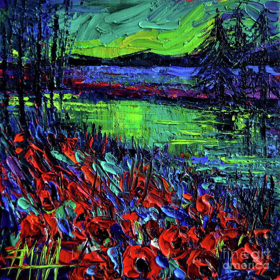Aurora Borealis Painting - Northern Lights Embracing Poppies by Mona Edulesco