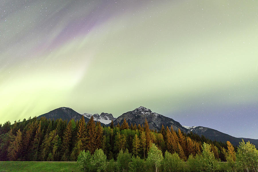 Landscape Photograph - Northern Lights over Overlander Mountain by M C Hood