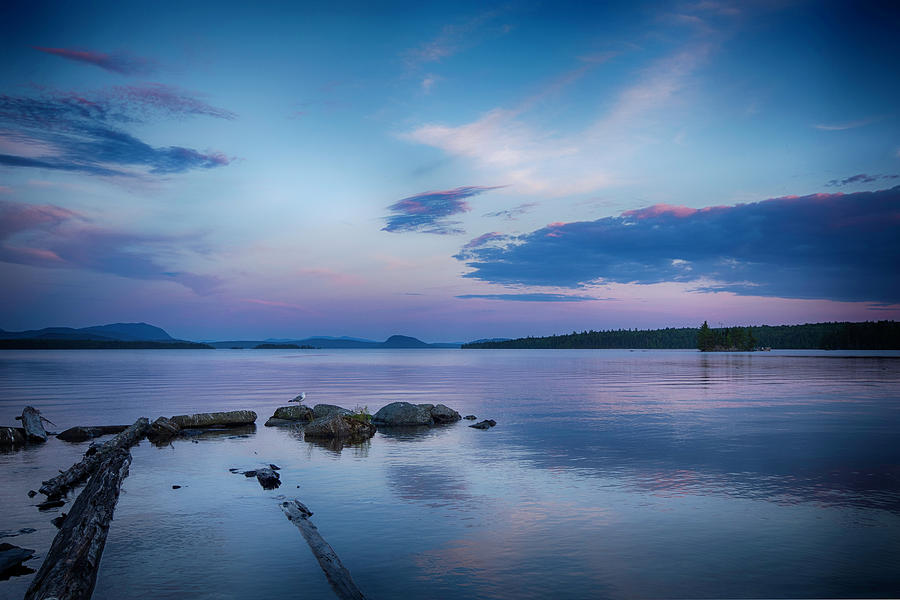 Lake Photograph - Northern Maine Sunset Over Lake by Justin Mountain