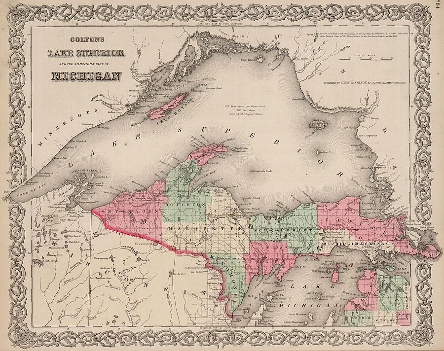 Lake Drawing - Northern Michigan And Lake Superior by Colton