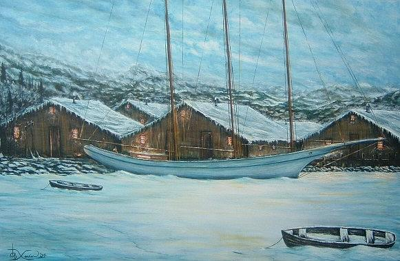 Seascape Painting - Northern Mooring by Xavier Maumus