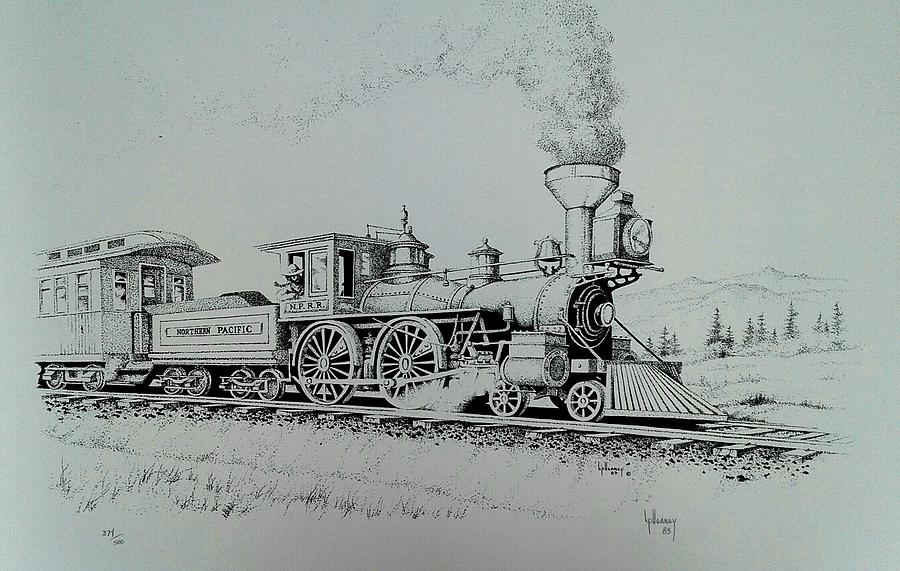 Northern Pacific Drawing - Northern Pacific Centennial Gold Creek Montana by Kevin Heaney