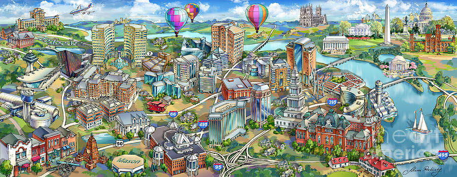 Northern Virginia Painting - Northern Virginia Map Illustration by Maria Rabinky