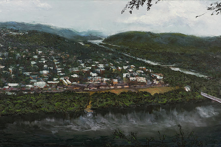Landscape Painting - Northumberland On The Susquehanna River by Faith Saxton