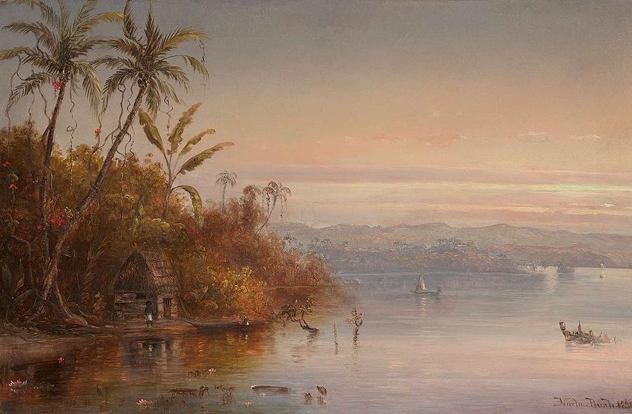 Beach Painting - Norton Bush 1834-1894 Tropical Sunset, 1890 by Artistic Panda