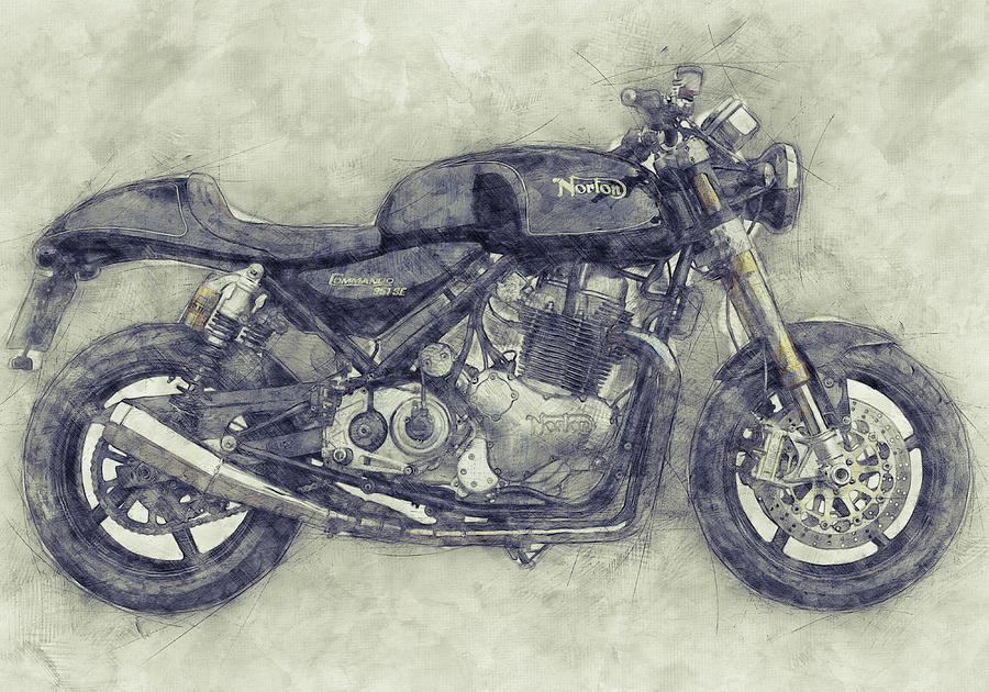 Norton Commando Mixed Media - Norton Commando 1 - Norton-villiers Motorcycle - 1967 - Motorcycle Poster - Automotive Art by Studio Grafiikka