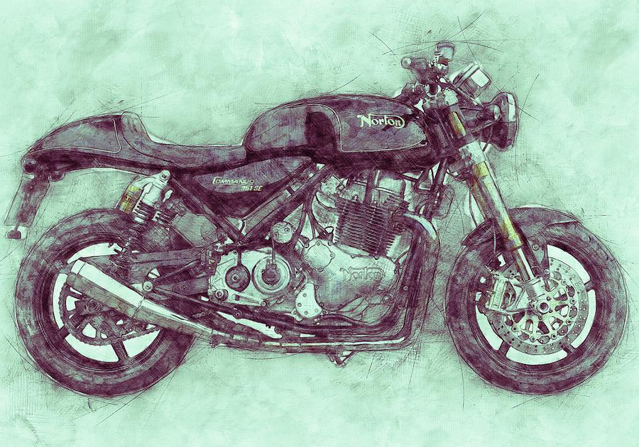 Norton Commando 3 - Norton-villiers Motorcycle - 1967 - Motorcycle Poster - Automotive Art Mixed Media