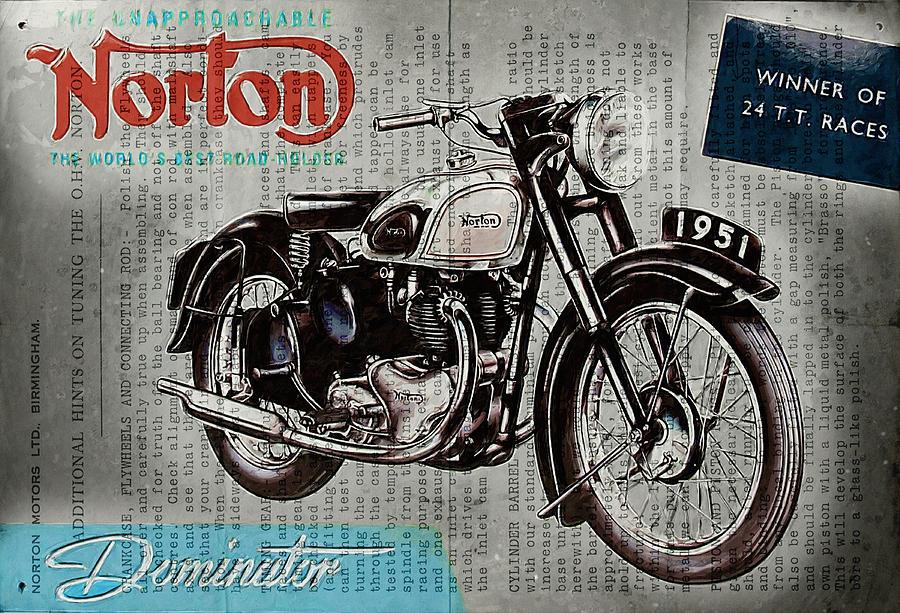 Norton Digital Art - Norton Dominator 1951 by Yurdaer Bes