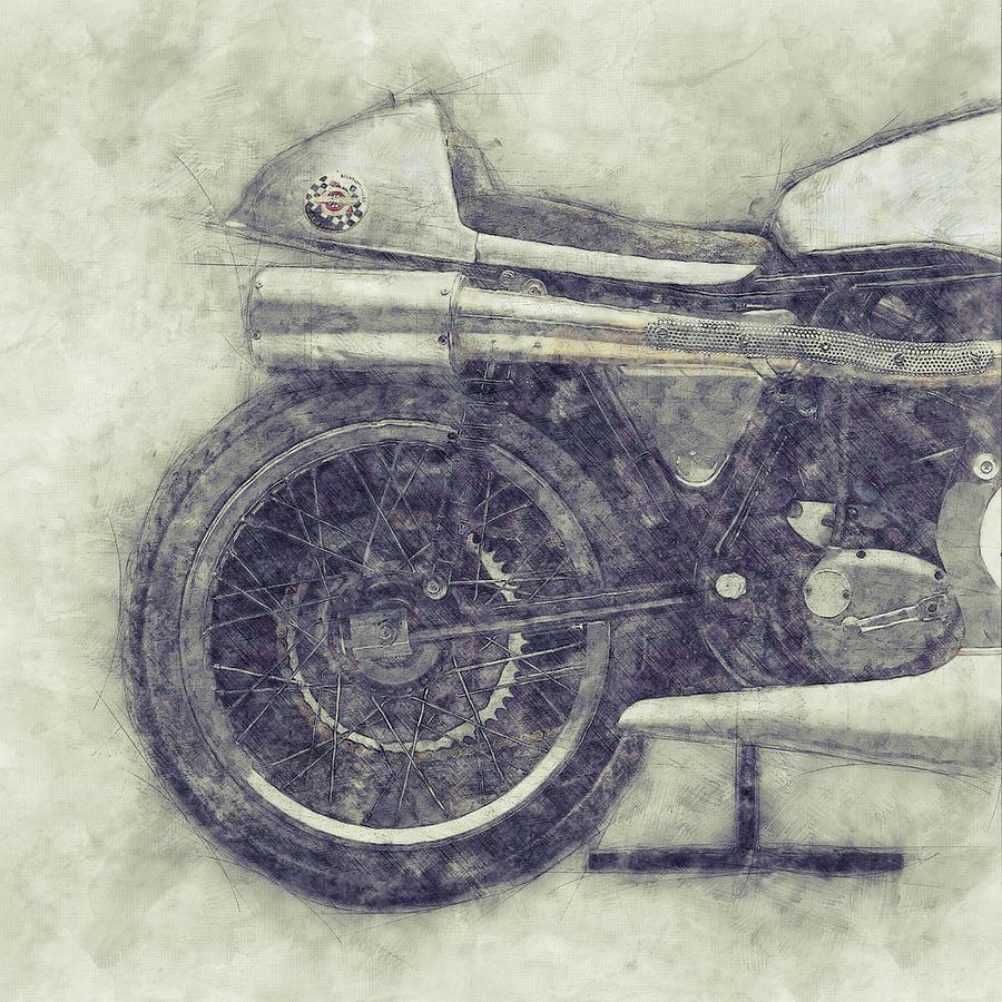 Norton Manx 1 - Norton Motorcycles - 1947 - Vintage Motorcycle Poster - Automotive Art Mixed Media