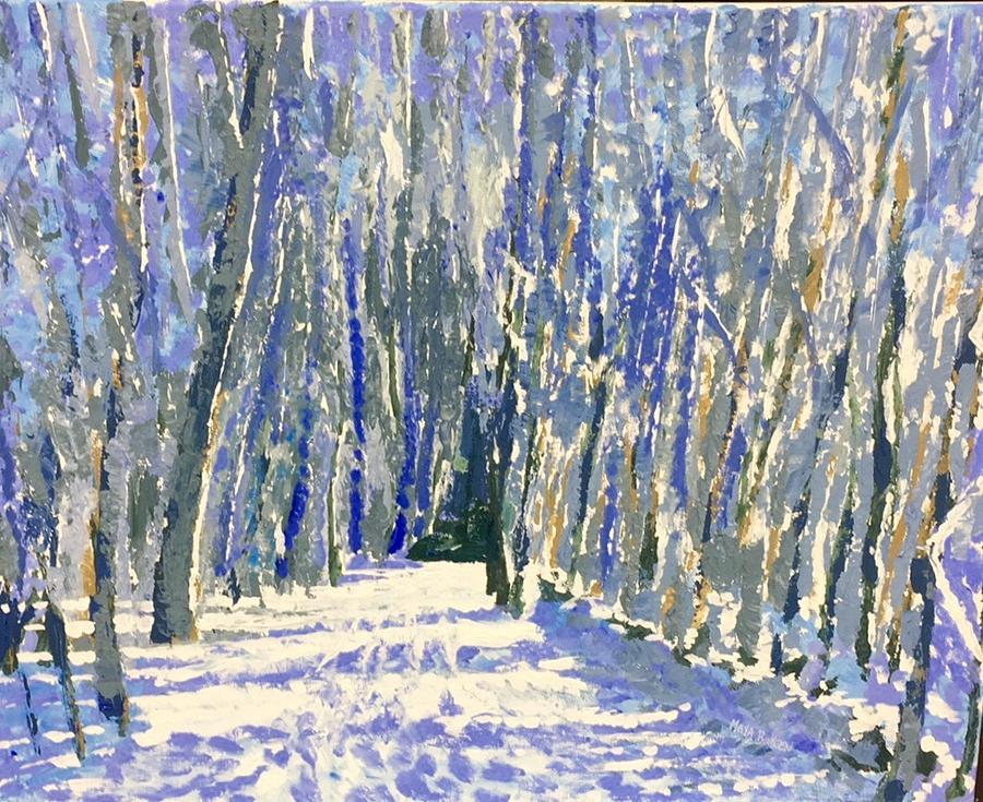 Norwalk River Valley Trail Painting by Maya Boreen
