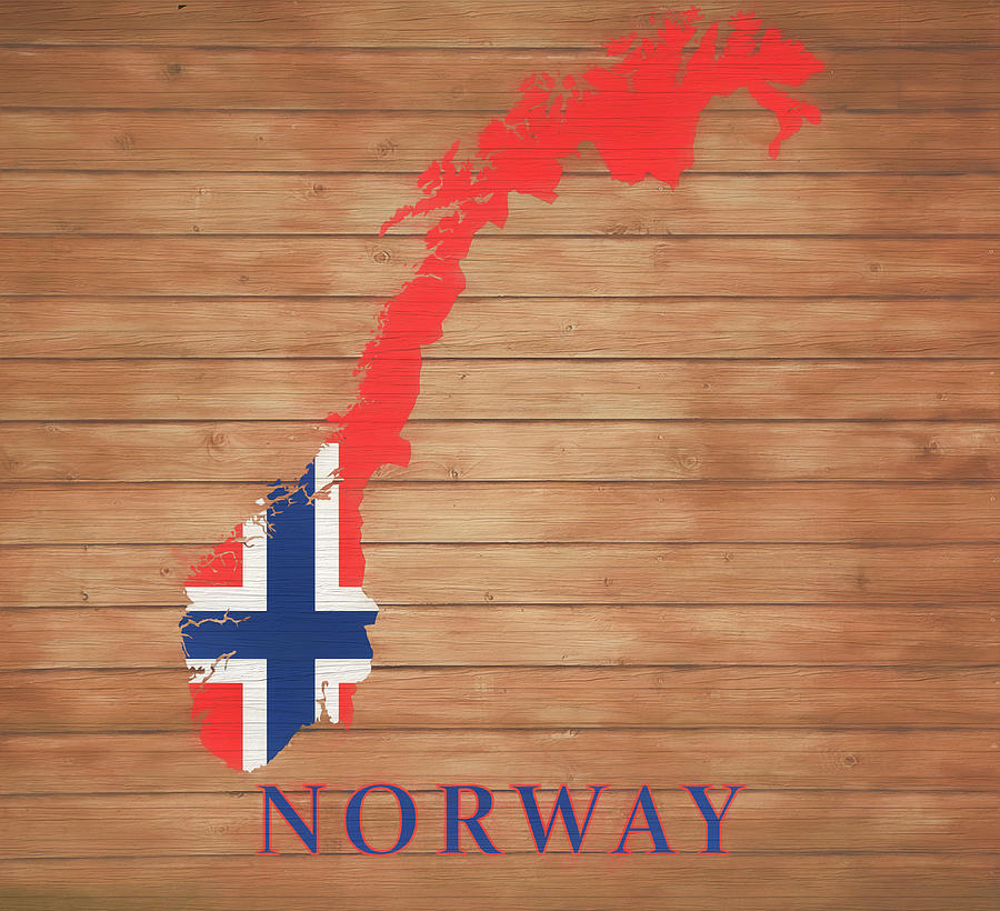 Map Of Norway Mixed Media - Norway Rustic Map On Wood by Dan Sproul