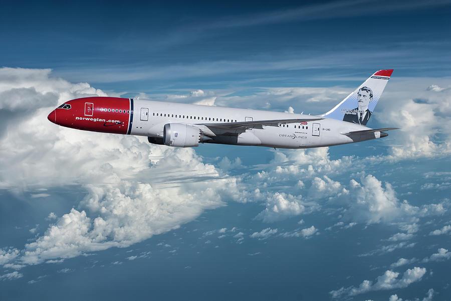 Norwegian Airlines Mixed Media - Norwegian Boeing 787-9 Dreamliner by Erik Simonsen