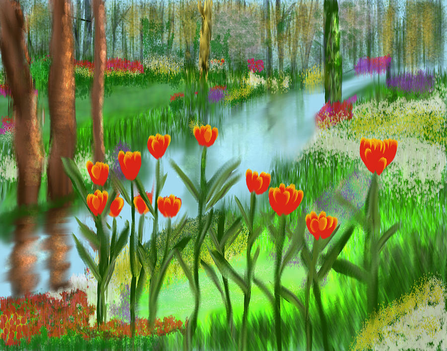 Impression Digital Art - Norwegian Tulip Garden by Kab