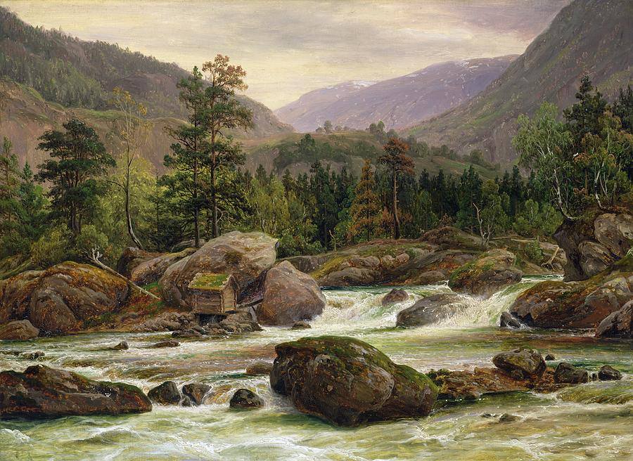 Norwegian Painting - Norwegian Waterfall by Thomas Fearnley