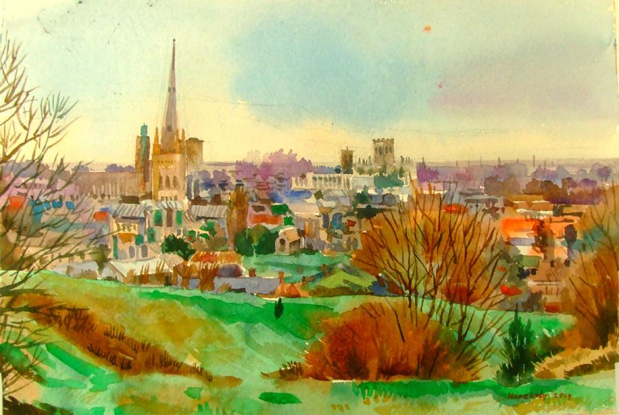 Watercolour Painting Painting - Norwich From Overview by Hopebaby Pradit