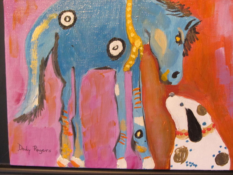 Dawg Painting - Nose To Nose by Dody Rogers