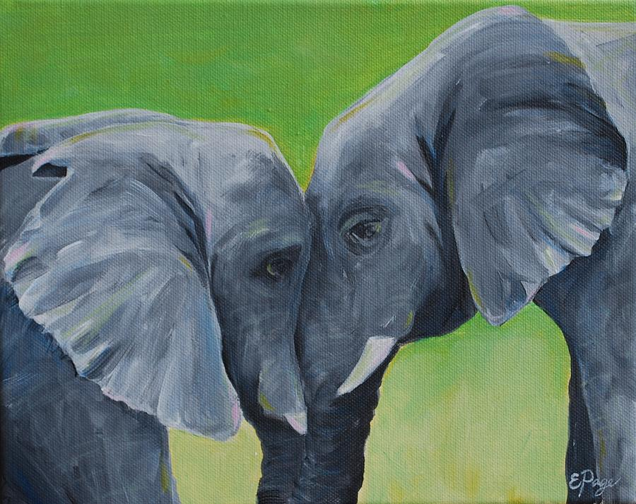 Elephant Painting - Nose To Nose In Green by Emily Page