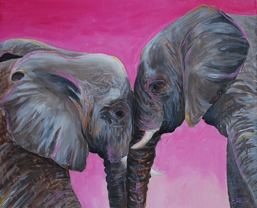 Elephant Painting - Nose To Nose In Pink by Emily Page