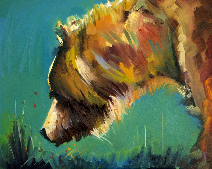 Bear Painting - Nosey Bear by Diane Whitehead