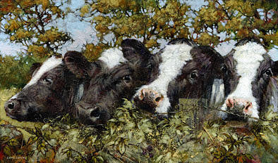 Friesians Painting - Nosey Parkers by David Lyons