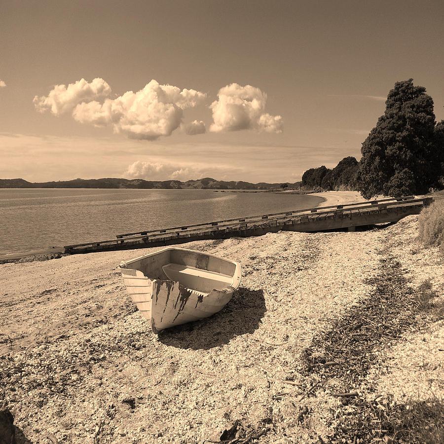 Photo Digital Art - Nostalgia Boat On Beach by Clive Littin