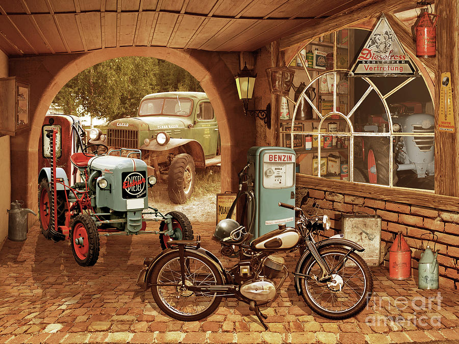 Nostalgic garage with tractor and motorcycle by Monika Juengling