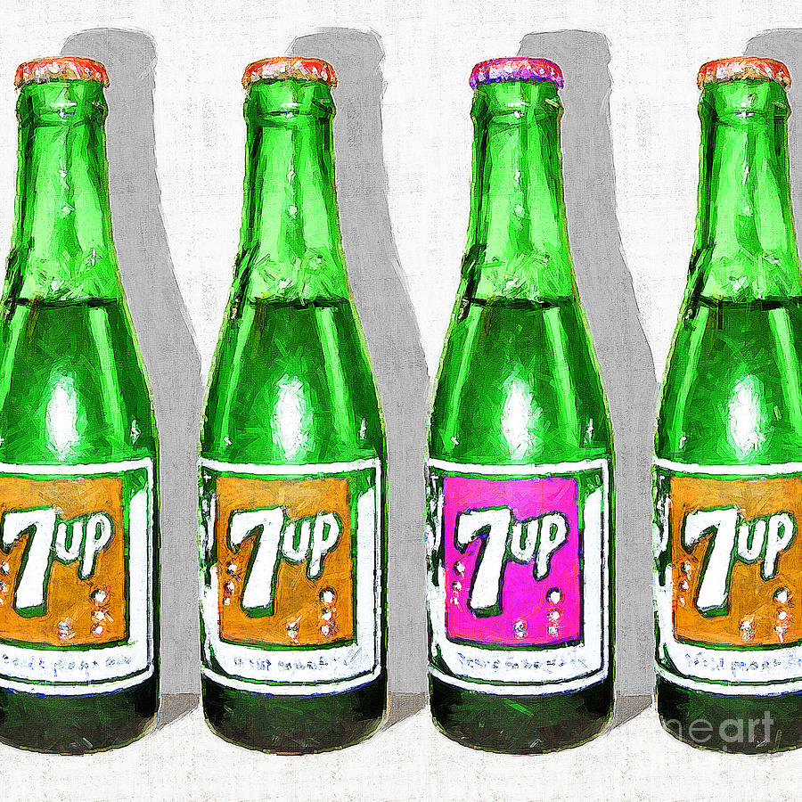 Nostalgic Vintage Pop Art 7up Bottles 20160220 Square Photograph By